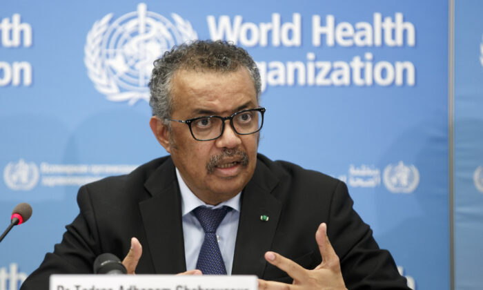 In this Feb. 24, 2020 file photo, Tedros Adhanom Ghebreyesus, head of the World Health Organization (WHO), addresses a press conference about the update on COVID-19 at the World Health Organization headquarters in Geneva, Switzerland. (Salvatore Di Nolfi/Keystone via AP)
