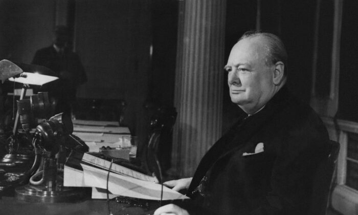 Prime Minister of Great Britain Winston Churchill makes his VE Day Broadcast to the world on May 8, 1945. (Keystone/Getty Images)