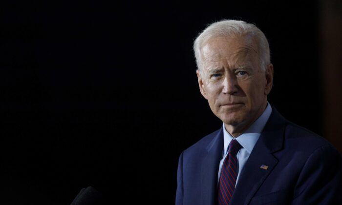 Democratic presidential candidate and former Vice President Joe Biden speaks during a campaign press conference in Burlington, Iowa, on Aug. 7, 2019. (Tom Brenner/Getty Images)