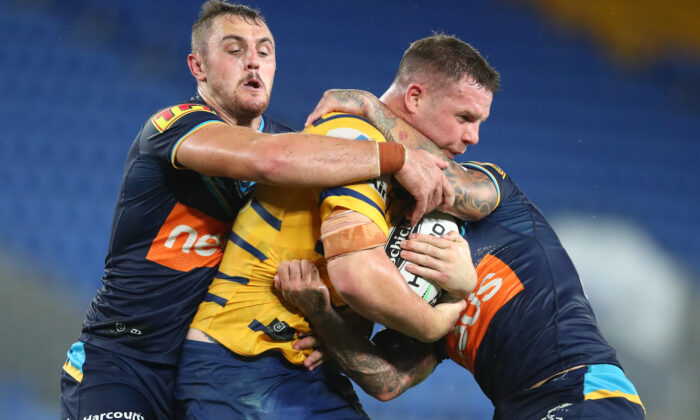 Nathan Brown of the Eels is tac during the round 2 NRL match between the Gold Coast Titans and the Parramatta Eels at Cbus Super Stadium on March 22, 2020 in Gold Coast, Australia. (Chris Hyde/Getty Images)