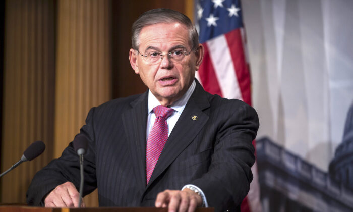 Sen. Bob Menendez (D-N.J.) speaks during a news conference on Capitol Hill in Washington, on Dec. 12, 2018. (Zach Gibson/Getty Images)