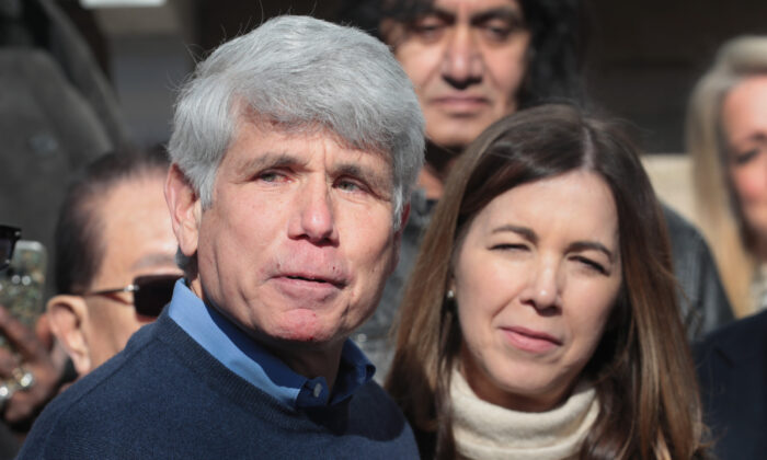 Former Illinois Gov. Rod Blagojevich speaks during a press conference in front of his home in Chicago, Ill., on Feb. 19, 2020. (Scott Olson/Getty Images)