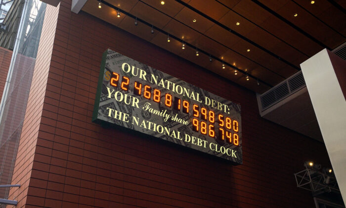 The National Debt Clock in midtown Manhattan on April 15, 2020. (Chung I Ho/The Epoch Times)