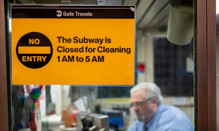 A sign stating the New York City subway is closed is displayed on a Mass Transit Authority (MTA) ticket booth at the Coney Island station in Brooklyn, N.Y., on May 6, 2020. (Corey Sipkin/AFP via Getty Images)