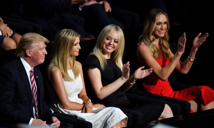 Tiffany Trump and Lara Trump (then Lara Yunaska) at the Republican National Convention along with then Republican presidential candidate Donald Trump, and Ivanka Trump, at the Quicken Loans Arena in Cleveland, Ohio, on July 20, 2016. (Jeff J Mitchell/Getty Images)