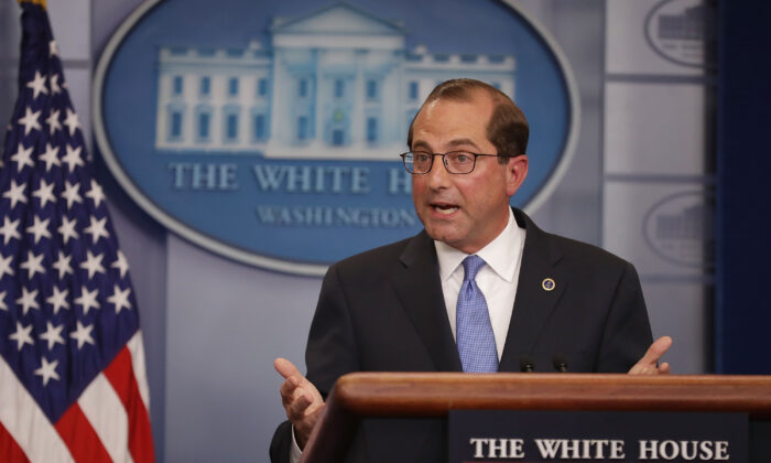 U.S. Health and Human Services Secretary Alex Azar takes questions from reporters in the Brady Press Briefing Room at the White House in Washington on May 11, 2018. (Chip Somodevilla/Getty Images)