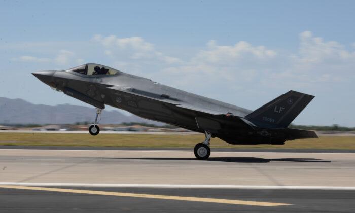 A U.S. Air Force F-35A Lightning II lands at Luke Air Force Base, Ariz., on July 25, 2018. (U.S. Air Force photo by Staff Sgt. Franklin R. Ramos)