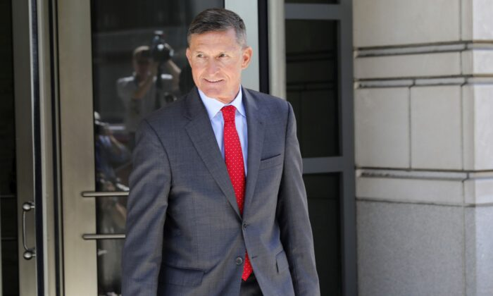 Lt. Gen. Michael Flynn, former national security adviser to President Donald Trump, departs the E. Barrett Prettyman United States Courthouse following a pre-sentencing hearing in Washington July 10, 2018. (Aaron P. Bernstein/Getty Images)