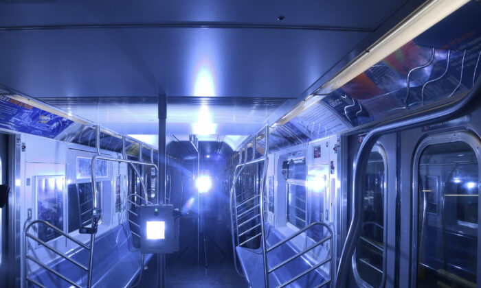 Demonstration of UV disinfecting technology at the Corona Maintenance Facility in New York City on May 19, 2020. (Marc A. Hermann/MTA New York City Transit)