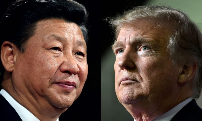 This combination of pictures created on May 14, 2020 shows recent portraits of   Chinese Communist Party leader Xi Jinping (L) and U.S. President Donald Trump. (Dan Kitwood and Nicholas Kamm/AFP via Getty Images)