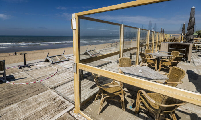 View of a closed beach restaurant in Wassenaar, The Netherlands, on May 19, 2020. (Remko de Waal/ANP/AFP via Getty Images)