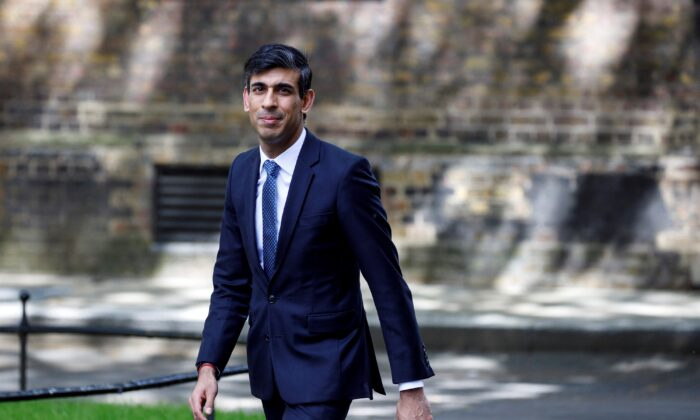 Britain's Chancellor of the Exchequer Rishi Sunak arrives in Downing Street in central London May 18, 2020. (Tolga Akmen/AFP via Getty Images)