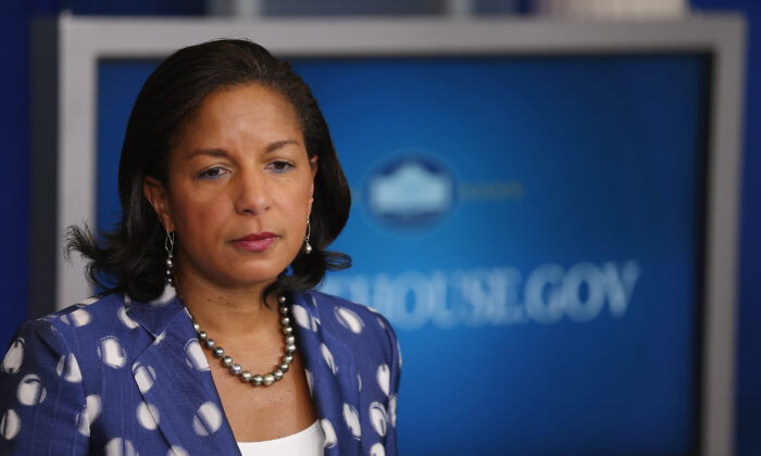 Former National Security Adviser Susan Rice speaks to reporters in Washington on July 22, 2015. (Chip Somodevilla/Getty Images)