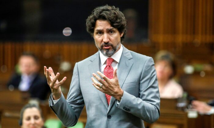 Canada's Prime Minister Justin Trudeau speaks during a meeting of the special committee on the COVID-19 outbreak, as efforts continue to help slow the spread of the coronavirus disease (COVID-19), in the House of Commons on Parliament Hill in Ottawa, Ontario, Canada May 20, 2020. (Blair Gable/REUTERS)