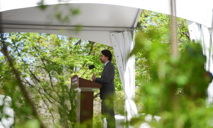 Prime Minister Justin Trudeau holds a press conference at Rideau Cottage amid the COVID-19 pandemic in Ottawa on May 21, 2020. (Sean Kilpatrick/The Canadian Press)
