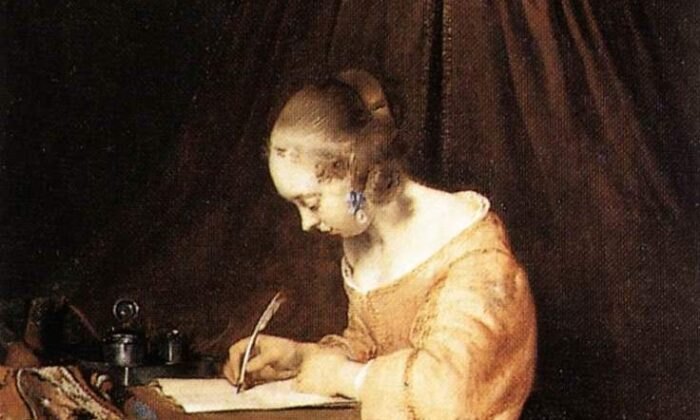 "Detail from ""Woman Writing a Letter,"" circa 1655, by Gerard ter Borch. Mauritshuis, Hague, Netherlands. (Public Domain)"