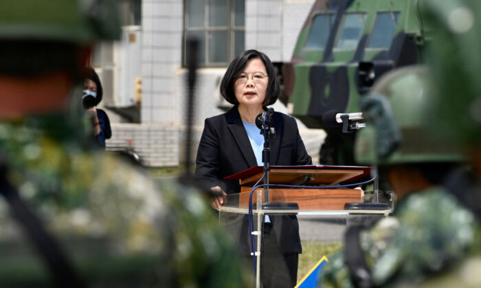 Taiwan President Tsai Ing-wen delivers her address to soldiers amid the coronavirus pandemic during her visit to a military base in Tainan, Taiwan, on April 9, 2020. (Sam Yeh/AFP via Getty Images)