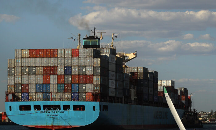 Cargo ship enters the harbour, Perth, Australia, December 3, 2011.  (Mark Dadswell/Getty Images)