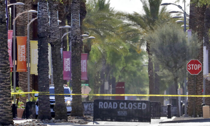 The Westgate retail district is closed off in Glendale, Ariz., on May 21, 2020. (Matt York/AP Photo)