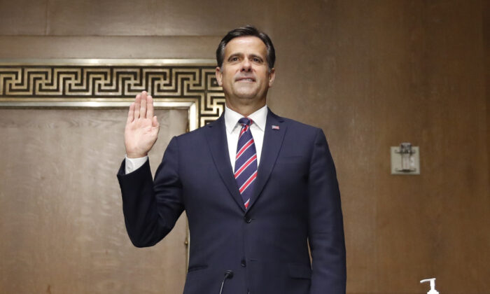 Rep. John Ratcliffe, (R-Texas), is sworn in before a Senate Intelligence Committee nomination hearing on Capitol Hill in Washington on May 5, 2020. The panel is considering Ratcliffe's nomination for director of national intelligence. (Andrew Harnik-Pool/Getty Images)