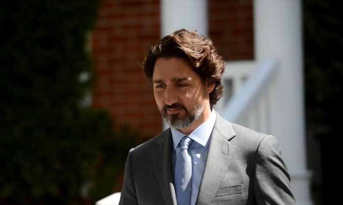 Prime Minister Justin Trudeau holds a press conference at Rideau Cottage amid the COVID-19 pandemic in Ottawa on May 21, 2020. (The Canadian Press/Sean Kilpatrick)