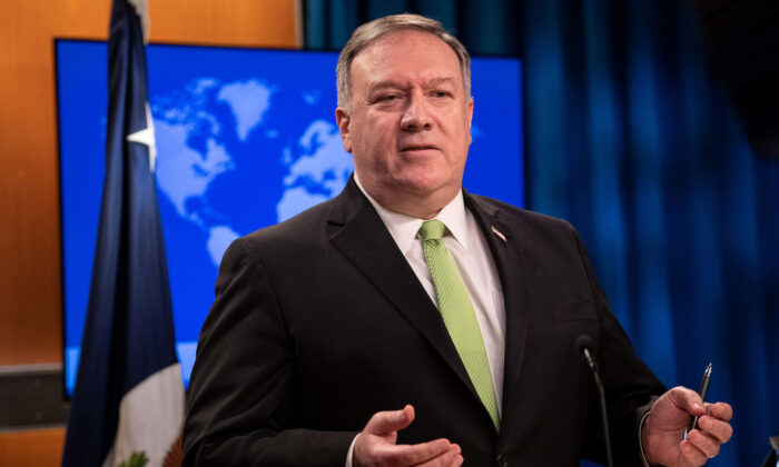 Secretary of State Mike Pompeo speaks to the media at the State Department in Washington, DC, on May 20, 2020. (Nicholas Kamm/Pool via Reuters)