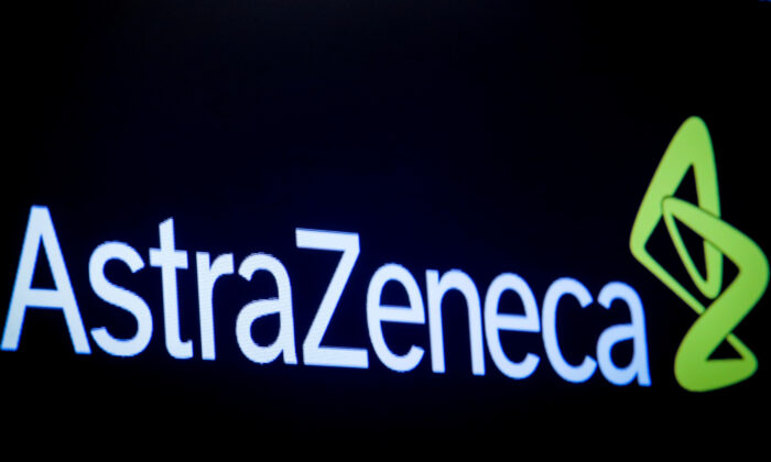 The company logo for pharmaceutical company AstraZeneca is displayed on a screen on the floor at the New York Stock Exchange (NYSE) in New York City, N.Y. on April 8, 2019. (Brendan McDermid/Reuters)