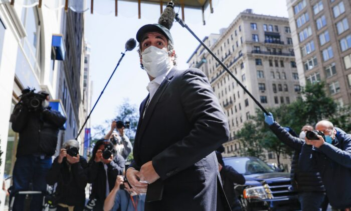 Michael Cohen arrives at his Manhattan apartment in New York City on May 21, 2020. (John Minchillo/AP Photo)
