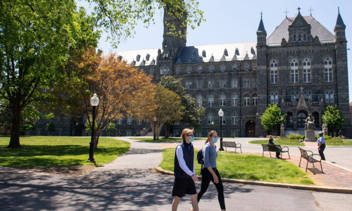 The campus of Georgetown University is seen nearly empty as classes were canceled due to the pandemic, in Washington on May 7, 2020. (Saul Loeb/AFP/Getty Images)