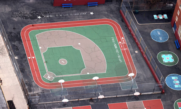 An empty playground at a closed school is seen from above in New York City on March 30, 2020. (Mike Segar/File Photo/Reuters)