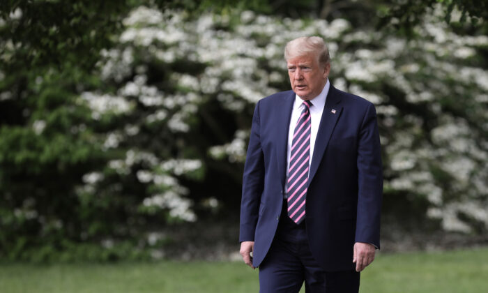President Donald Trump walks across the South Lawn in Washington, on May 5, 2020. (Chip Somodevilla/Getty Images)