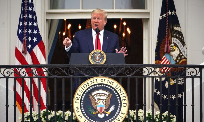 "President Donald Trump speaks during the ""Rolling to Remember Ceremony: Honoring Our Nations Veterans and POW/MIA"" from the Truman Balcony at the White House in Washington, on May 22, 2020. (Mandel Ngan/AFP via Getty Images)"