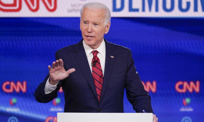 Former Vice President Joe Biden participates in a Democratic presidential primary debate at CNN Studios in Washington on March 15, 2020. (Evan Vucci/AP Photo)