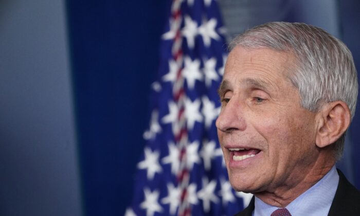 Director of the National Institute of Allergy and Infectious Diseases Anthony Fauci speaks at the White House in Washington on April 22, 2020. (Mandel Ngan/AFP via Getty Images)