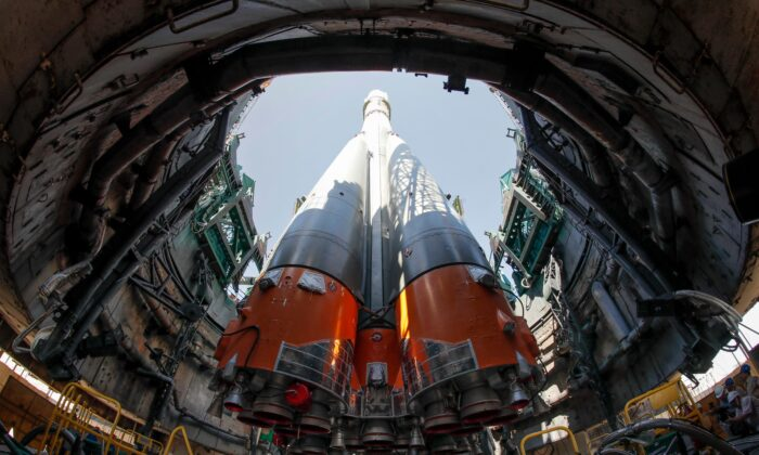 The Soyuz MS-13 spacecraft is mounted on the launch pad at the Russian-leased Baikonur cosmodrome in Kazakhstan on July 18, 2019. (Dmitry Lovetsky/POOL/AFP via Getty Images)