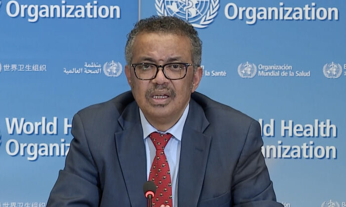 A TV grab taken from a video released by the World Health Organization (WHO) shows WHO Chief Tedros Adhanom Ghebreyesus attending a virtual news briefing on COVID-19 (novel coronavirus) from the WHO headquarters in Geneva on April 6, 2020. (AFP via Getty Images)