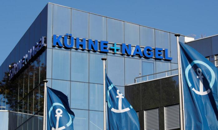The logo of Swiss logistics group Kuehne+Nagel is seen at its headquarters in Schindellegi, Switzerland, on Oct. 17, 2018. (Arnd Wiegmann/Reuters)