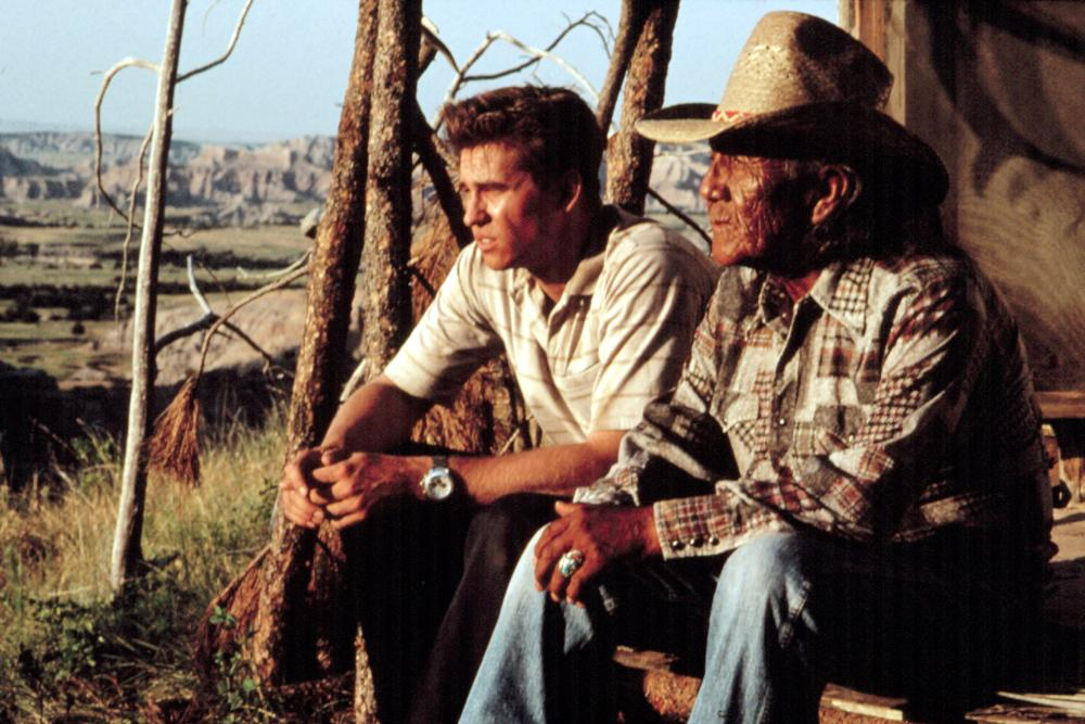 """young and old man sit on porch in """"Thunderheart"""""""