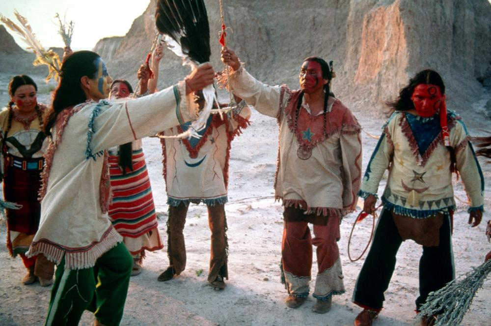 """tribal dancers in the desert in """"Thunderheart"""""""