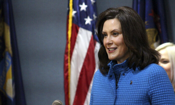 Michigan Gov. Gretchen Whitmer at a news conference in Lansing, Mich., on May 18, 2020. (Michigan Office of the Governor via AP, Pool)