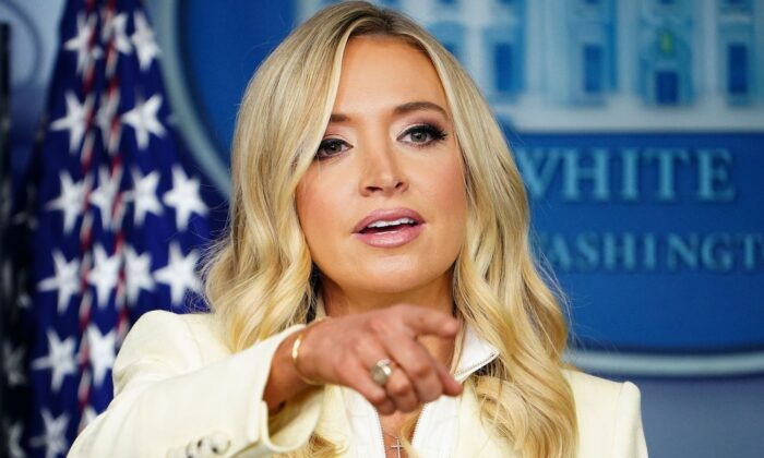 White House Press Secretary Kayleigh McEnany speaks to the press in the Brady Briefing Room of the White House in Washington on May 22, 2020. (Mandel Ngan/AFP via Getty Images)
