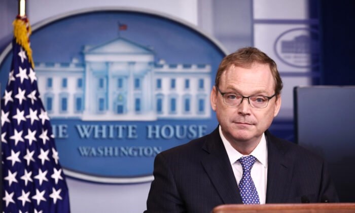 Kevin Hassett, Chairman of the Council of Economic Advisers speaks during a press briefing at the White House in Washington on Sept. 10, 2018. (Samira Bouaou/The Epoch Times)