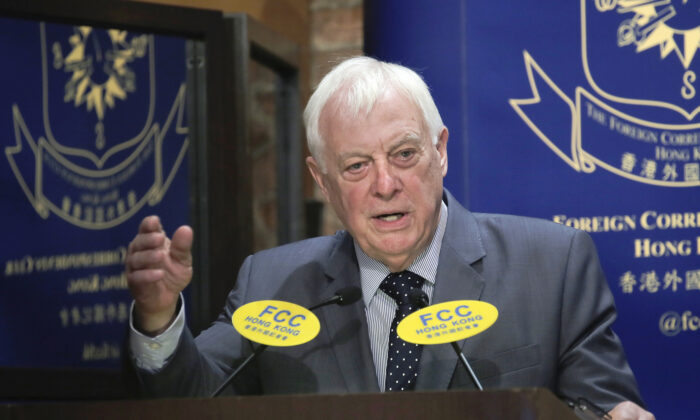 In this file photo, Chris Patten, Hong Kong's last British governor, speaks at The Foreign Correspondents' Club to promote his new book in Hong Kong, on Sept. 19, 2017. (Vincent Yu/AP Photo)