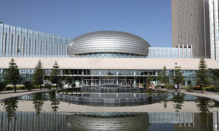 The facade of the headquarters of the African Union (AU) is pictured in Addis Ababa on March 13, 2019. (Ludovic Marin/AFP via Getty Images)