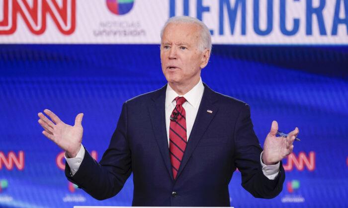 Former Vice President Joe Biden, participates in a Democratic presidential primary debate at CNN Studios in Washington, on March 15, 2020. (Evan Vucci/AP Photo)