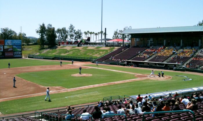 A file photo of the Lake Elsinore Diamond, also known as Storm Stadium, in Lake Elsinore, Calif., on July 4, 2010. (Gateman1997/Wikimedia Commons)