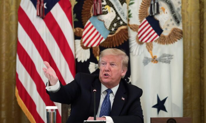 President Donald Trump speaks during a meeting with his cabinet in the East Room of the White House on May 19, 2020. (Alex Wong/Getty Images)