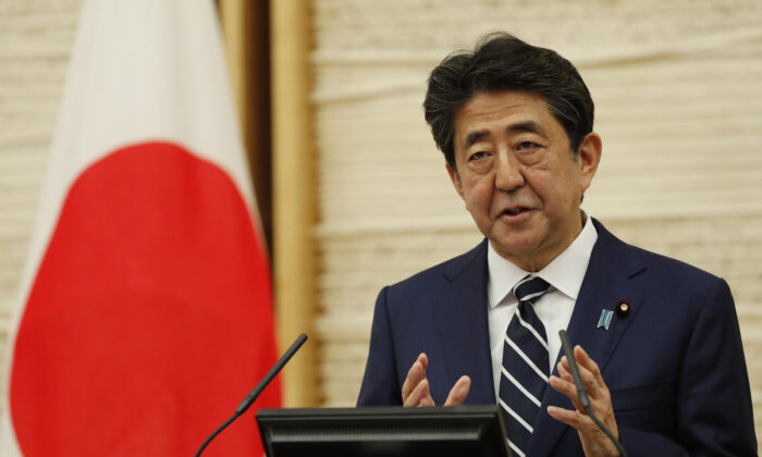 Japan's Prime Minister Shinzo Abe speaks at a news conference in Tokyo, Japan, on May 25, 2020. (Kim Kyung-hoon/Pool/Getty Images)