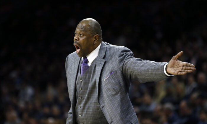 Georgetown head coach Patrick Ewing yells to his team during the first half of an NCAA college basketball game against Villanova, in Philadelphia on Jan. 11, 2020. (Matt Slocum/AP, file photo)