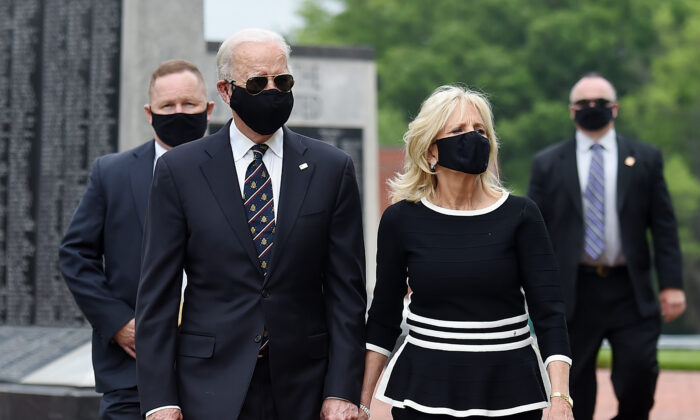 Democratic presidential candidate former Vice President Joe Biden and his wife Jill Biden, leave Delaware Memorial Bridge Veteran's Memorial Park after paying their respects to fallen service members in Newcastle, Del., on May 25, 2020. (Olivier Douliery/AFP via Getty Images)